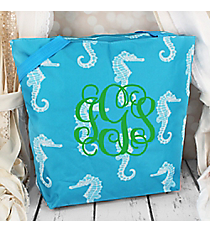 Market Shopping Tote in Ocean Blue Seahorse #ST18-95