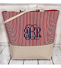 Large Red and White Striped Tote with Canvas Trim #ST20-6001