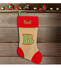 Red with Green 'B' Burlap Stocking #STK-MONO-B