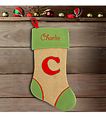 Green with Red 'C' Burlap Stocking #STK-MONO-C