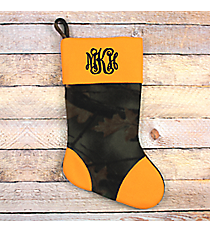 Camo Fleece Stocking with Orange Trim #STK-MOO