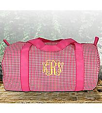 Pink Gingham Duffle Bag #SW181014