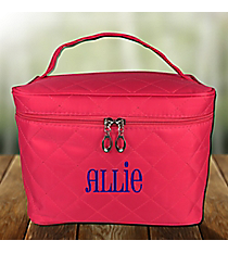 Hot Pink Quilted Cosmetic Case #SW181214