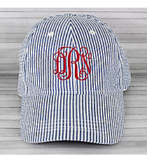 Dark Blue Striped Seersucker Cap #SW181349/32517