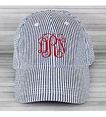 Dark Blue Striped Seersucker Cap #SW181349/32517