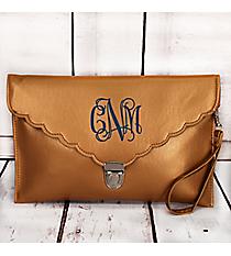 Antique Gold Scalloped Envelope Clutch Bag #SW32744