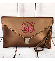 Bronze Scalloped Envelope Clutch Bag #SW32745