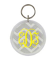 Silver Chevron Round Acrylic Key Tag #991