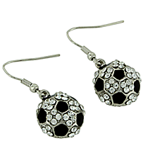 Sparkling Crystal Soccer Dangling Earrings #23376-S
