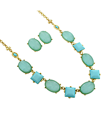 "18"" Aqua Faceted Stone and Bubble Necklace and Earring Set #13625AQ-G"