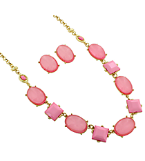 "18"" Pink Faceted Stone and Bubble Necklace and Earring Set #13625LRO-G"