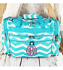 "Light Blue and White Chevron Duffle Bag 16"" #T16-165-LT/W"