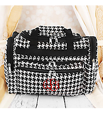"Houndstooth with Black Trim 16"" Duffle Bag #T16-606-B/W"