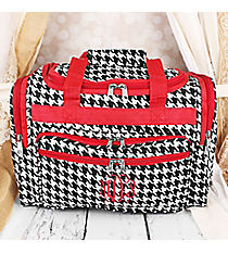 "Houndstooth with Red Trim 16"" Duffle Bag #T16-606-R"