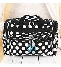 "Black with White Polka Dots 16"" Duffle Bag #T16-635"