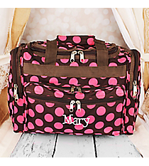 """Brown with Pink Polka Dots 16"""" Duffle Bag #T16-637"""
