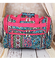 "Bohemian Spirit with Fuchsia Trim 16"" Duffle Bag #T16-647-F"
