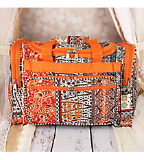 "Bohemian Spirit with Orange Trim 16"" Duffle Bag #T16-648-OR"