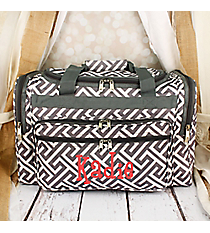 "Gray and White Greek Key Maze Duffle Bag 19"" #T19-185-GREY/W"