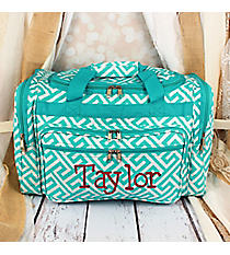 "Light Blue and White Greek Key Maze Duffle Bag 19"" #T19-185-LT/W"