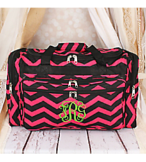 "Black and Fuchsia Chevron 22"" Duffle Bag #T22-165-B/F"