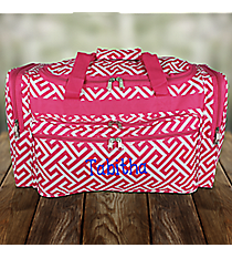 "Fuchsia and White Greek Key Maze 22"" Duffle Bag #T22-185-F/W"