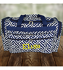 "Navy and White Greek Key Maze 22"" Duffle Bag #T22-185-N/W"