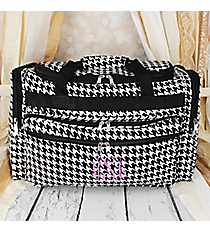 "Houndstooth Print 22"" Duffle Bag with Black Trim #T22-606-B"