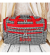 "Houndstooth Print 22"" Duffle Bag with Red Trim #T22-606-R"