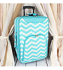 "20"" Light Blue and White Chevron Luggage #T6701-165-LT/W"