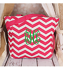 Fuchsia and White Chevron Oversized Tote #TB3015-165-F/W