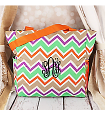 Lime Green and Khaki Chevron with Orange Trim Oversized Tote #TB3015-171