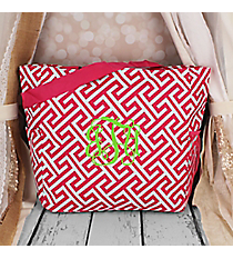 Fuchsia and White Greek Key Maze Oversized Tote #TB3015-185-F/W