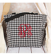 Houndstooth with Black Trim Oversized Tote #TB3015-606-B/W