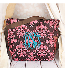 Brown and Pink Vintage Damask Oversized Tote #TB3015-632