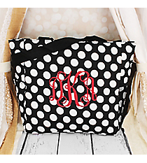 Black with White Polka Dots Oversized Tote #TB3015-635