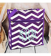 Purple and White Chevron Shopper Tote #TH3013-165-AP/W