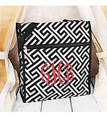 Black and White Greek Key Maze Shopper Tote #TH3013-185-B/Wk Trim Shopper Tote #TH3013-176