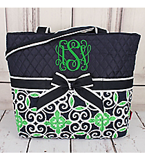 Navy and Green Celtic Swirl Quilted Diaper Bag #THQ2121-NAVY