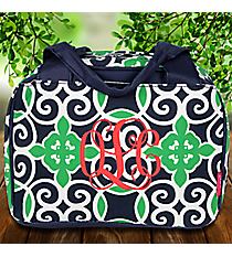 Navy and Green Celtic Swirl Insulated Bowler Style Lunch Bag #THQ255-NAVY