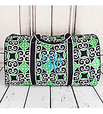 """Navy and Green Celtic Swirl Quilted Duffle Bag 21"""" #THQ2626-NAVY"""