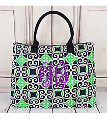 Navy and Green Celtic Swirl Quilted Large Shoulder Tote #THQ3907-NAVY