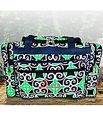 """20"""" Navy and Green Celtic Swirl Duffle Bag #THQ420-NAVY"""