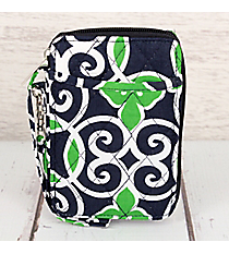 Navy and Green Celtic Swirl Quilted Wristlet #THQ495-NAVY
