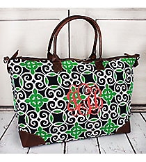 Navy and Green Celtic Swirl Large Tote Bag #THQ642-NAVY