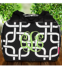 Black Overlapping Squares Insulated Bowler Style Lunch Bag #TIM255-BLACK