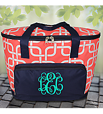 Coral Overlapping Squares and Navy Cooler Tote with Lid #TIM89-CORALs Cooler Tote with Lid #TIM89-BLACK