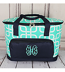 Mint Overlapping Squares and Navy Cooler Tote with Lid #TIM89-MINT