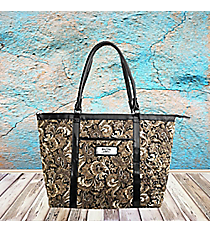 2 Corinthians 5:7 'Faith' Brown Paisley Quilted Shoulder Tote #TOT042