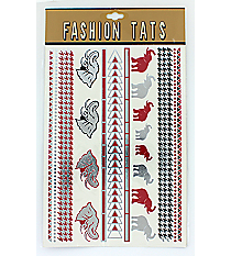 1 Sheet of Crimson, Silver, and Black Alabama Themed Tattoos #TT0022-SWI